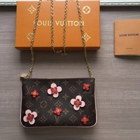 LV Louis Vuitton MONOGRAM CANVAS Blooming Flowers CHAIN WALLET