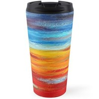 'Hot and Cool Waves | Abstract Painting' Travel Mug by Maria Meester