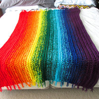 Colorful Rainbow Ombré Striped Crochet Afghan Blanket