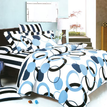 Artistic Blue 100% Cotton 3PC Sheet Set in Twin Size