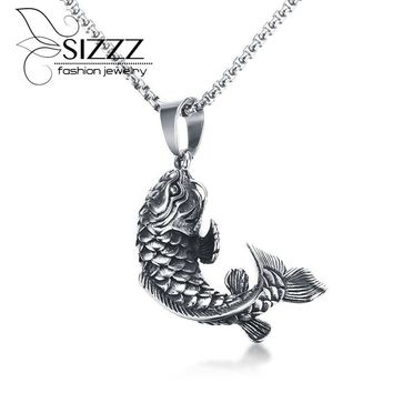 SIZZZ Brand Classic Titanium Steel Necklace Simple Fish Pendant Chokers Long Chain Pendant Necklace Fashion Men Jewelry