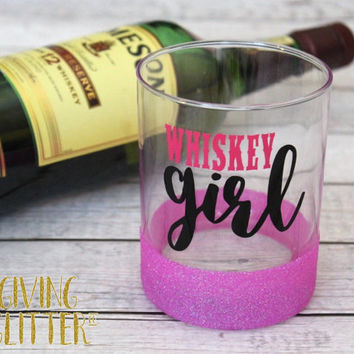 Whiskey Girl // Glitter Dipped Whiskey Glass