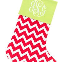 Christmas Stocking Red Chevron and Lime Green - Monogrammed Personalized