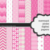 Mermaid Pinks Digital Paper Set -- Under The Sea, Pink Ombre, Bubblegum Pink, Ocean Wave, Scrapbook, Seamless -- Personal or Commercial Use