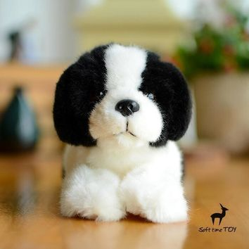 Black/White Beagle Dog Stuffed Animal Plush Toy 8""