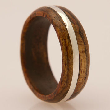 wood ring bocote ring with silver  inlay