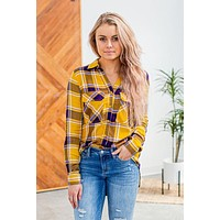 Working On The Weekend Plaid- Mustard