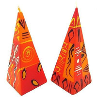 Handmade Set of Two Hand-Painted Decorative Pyramid Candles - Orange/Red
