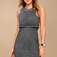 Olive & Oak Kenny Heathered Black Midi Dress