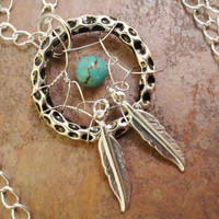 Silver Dream Catcher Necklace Pendant Turquoise Beaded with Feathers