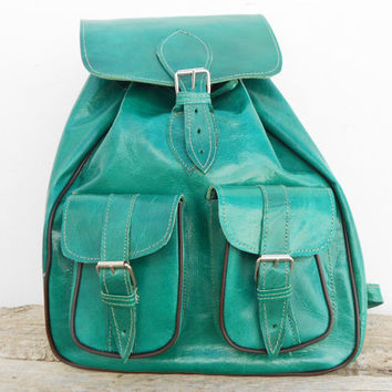 SALE - Light Green Leather backpack for girls, Satchel bag Handmade Soft Leather School College Travel Picnic Weekend bag