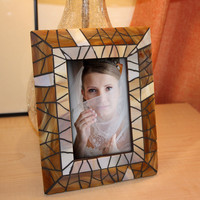 Amber Glass Picture Frame, Amber Mosaic Photo Frame