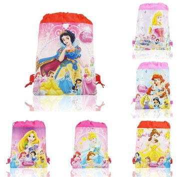 Kawaii 12pcs Princess Childrens Drawstring Backpack Hot Cartoon Bags Without handle Non-Woven Fabric Bags 35*27cm Party Bags
