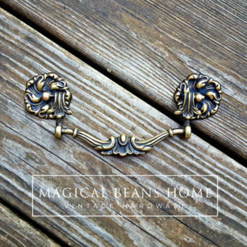 Victorian Furniture Pulls French Country Dresser Pulls KBC Drop Bail Pulls Antique Brass Drawer Pulls Antique Gold Drawer Pulls & Rosettes