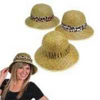 24in circ. Adult Straw Pith Helmets With Animal Print Band