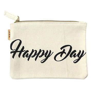 Happy Day Canvas Eco Pouch