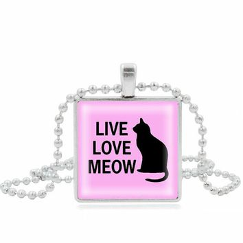 XUSHUI XJ Pink Live Love Meow Black Cat Necklace Square Glass Cabochon Silver chain beads long Necklace Women gift