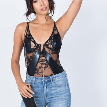 Laced in Leather Bodysuit