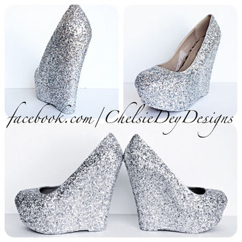 Silver Glitter Wedge High Heels
