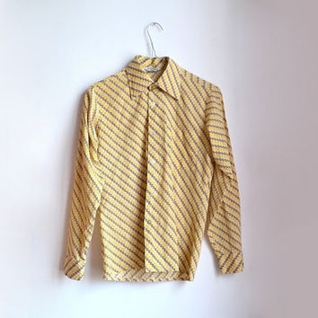 vintage mustard yellow shirt striped geometric long sleeve button up womens blouse small s