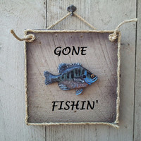 Fish wooden Sign Bluegill Bream Personalized Handmade Decorative Sign bream Freshwater Mountain Fish Art for lake, pond, river, stream