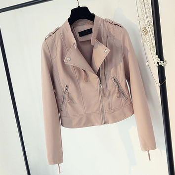 Women Cool Brand Clothing Girls Outerwear European Style Women Lady Cool Locomotive Faux Leather Jacket Coats Free Shipping C481