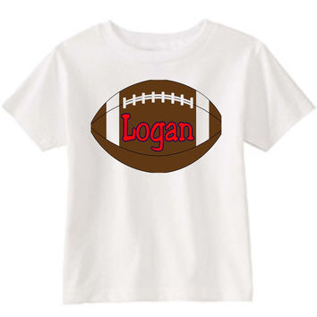Football on Personalized White T-Shirt  Red
