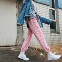 Fashion leisure new satin convergent feet pants pants (6 color) Pink