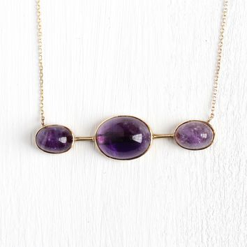 Amethyst Bar Necklace - Vintage 14k Yellow Gold Brooch Conversion Pendant - 1960s Retro Purple 11.57 CTW Fine Genuine Gemstone Jewelry
