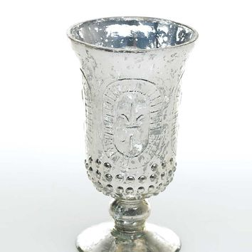 """Mercury Glass Palais Floral Vase in Silver - 6"""" Tall x 3.5"""" Wide"""