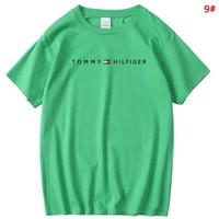 Tommy Summer Fashion New Bust Letter Print Women Men Solid Color Sports Leisure Top T-Shirt 9#