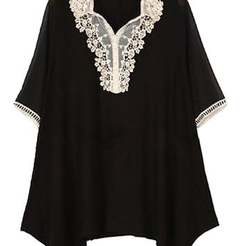Black V- Lace Neckline Loose Fitting Chiffon Blouse