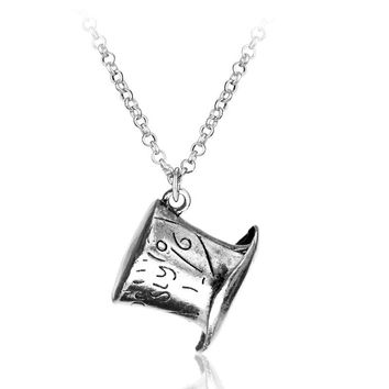 Alice In Wonderland Hat Low Mad Hatter Hat Silver Pendant Necklace High Quality collars Necklace