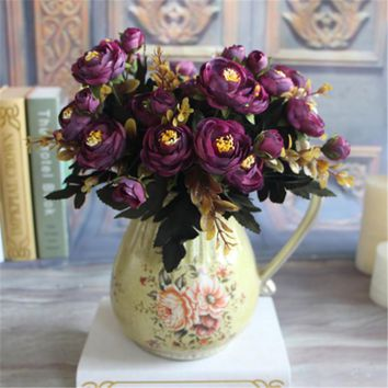 Beautiful Artificial Fake Peony Flower Home Room Bridal Hydrangea Decor Real Touch Flowers 6 Branches