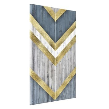 Gold/Blue/Grey Arrows Canvas Print