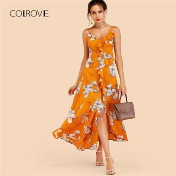 COLROVIE Ginger Ruffle Floral Split Maxi Dress 2018 New Beach Sexy Criss Cross Summer Dress Vacation Split A Line Women Dress