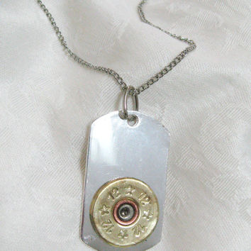 Shotgun 12 gauge necklace - dog tag with brass or silver toned shotgun shell embellishment  on antiqued silver chain