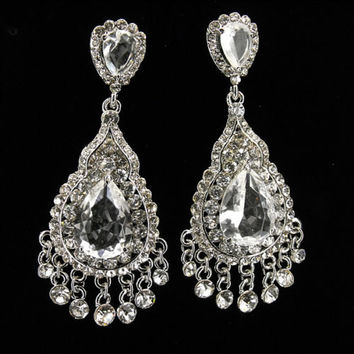 "2.5"" Floral Chandelier Earrings Bridal Wedding Prom gauges plugs 2g 0g 00g 7/16"" 6mm 8mm 9mm 11mm"