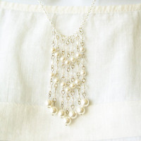 Wedding Jewelry - Pearl and Crystal Necklace, White, Silver, Fringe Necklace, Chevron, Bridal Jewellery