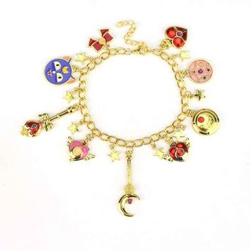 Sailor Moon Charm Bracelet Cardcaptor Sakura Magic Wand Anime Cat Love Chain Bracelet Wristlet Jewelry
