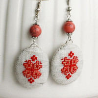 Boho red earrings rose corals hand embroidered jewelry Ethno Ukrainian style Linen gift for her gemstone vyshyvanka embroidery graduation