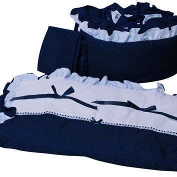 Baby Doll Bedding Regal Cradle Bedding Set Navy 530cr36