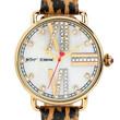 Betsey Johnson Ladies Gold Tone and Glitz Watch with Leopard Print Strap