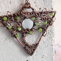 Tree-Of-Life Necklace Pendant Tree-Of-Life Jewelry Gift for her Copper Wire Tree-Of-Life Wire Wrapped Pendant Nacre Pendant FREE SHIPPING.