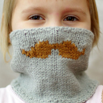 Children's Mustache Knitted Neckwarmer, kids winter accessories, knitted mustache scarf, size 2-10 years.