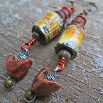Wooden Bird earrings - Paper bead jewelry - Assemblage jewelry - Upcycled, recycled, repurposed - Nature inspired Jewelry - Paper beads