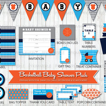 Basketball Themed Baby Shower, All Star, Sports, Printable Party Pack, Baby Shower Decorations, DIY Party, Orange, Blue