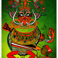 Tribal Dance Art- Indian Tribal dance art- Theyyam Dance-Mask print-Psychedelic canvas print-Visionary art poster- Trippy Poster- Indian art