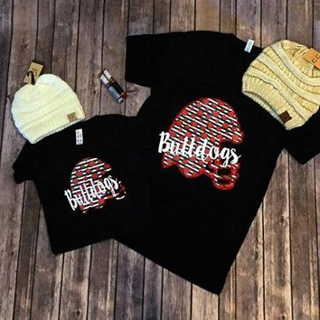 Floral & Striped Helmet Bulldogs T-Shirt