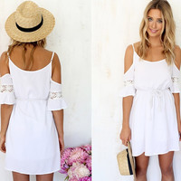 Off Shoulder Spaghetti Strap Drawstring Mini Dress